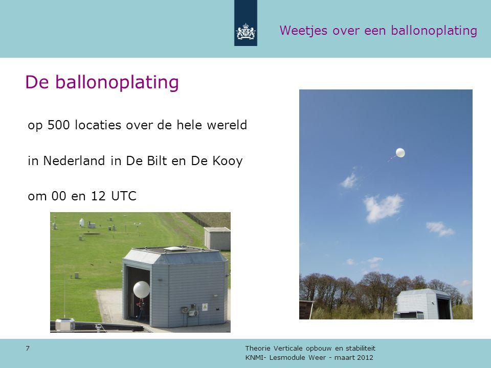 KNMI- Lesmodule Weer - maart 2012 Theorie Verticale opbouw en stabiliteit 7 De ballonoplating op 500 locaties over de hele wereld in Nederland in De B