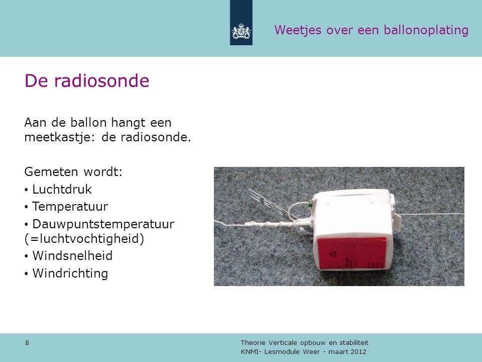 KNMI- Lesmodule Weer - maart 2012 Theorie Verticale opbouw en stabiliteit 8 De radiosonde Aan de ballon hangt een meetkastje: de radiosonde. Gemeten w