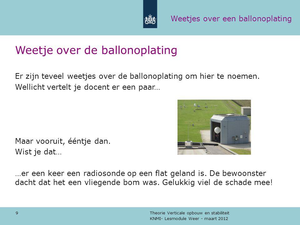 KNMI- Lesmodule Weer - maart 2012 Theorie Verticale opbouw en stabiliteit 9 Weetje over de ballonoplating Er zijn teveel weetjes over de ballonoplatin