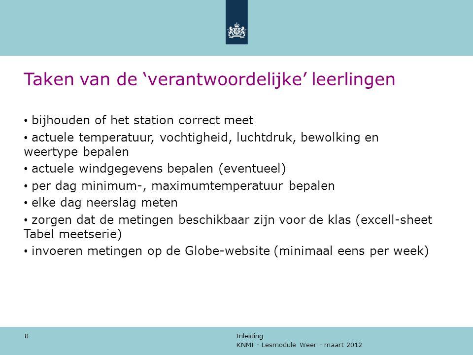 KNMI - Lesmodule Weer - maart 2012 Inleiding 8 Taken van de 'verantwoordelijke' leerlingen bijhouden of het station correct meet actuele temperatuur,