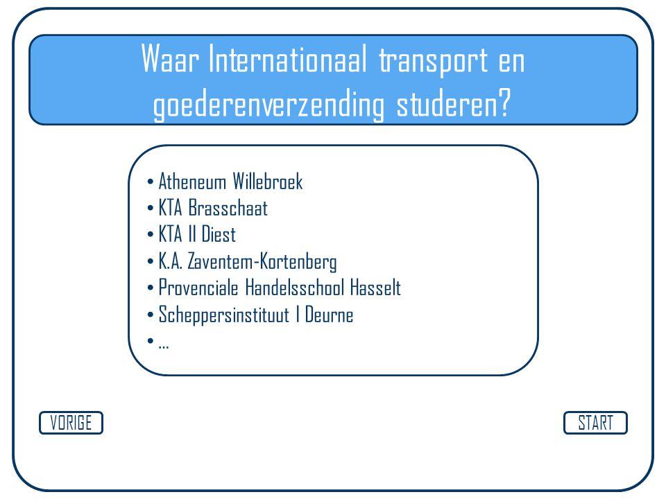 STARTVORIGE Waar Internationaal transport en goederenverzending studeren? Atheneum Willebroek KTA Brasschaat KTA II Diest K.A. Zaventem-Kortenberg Pro
