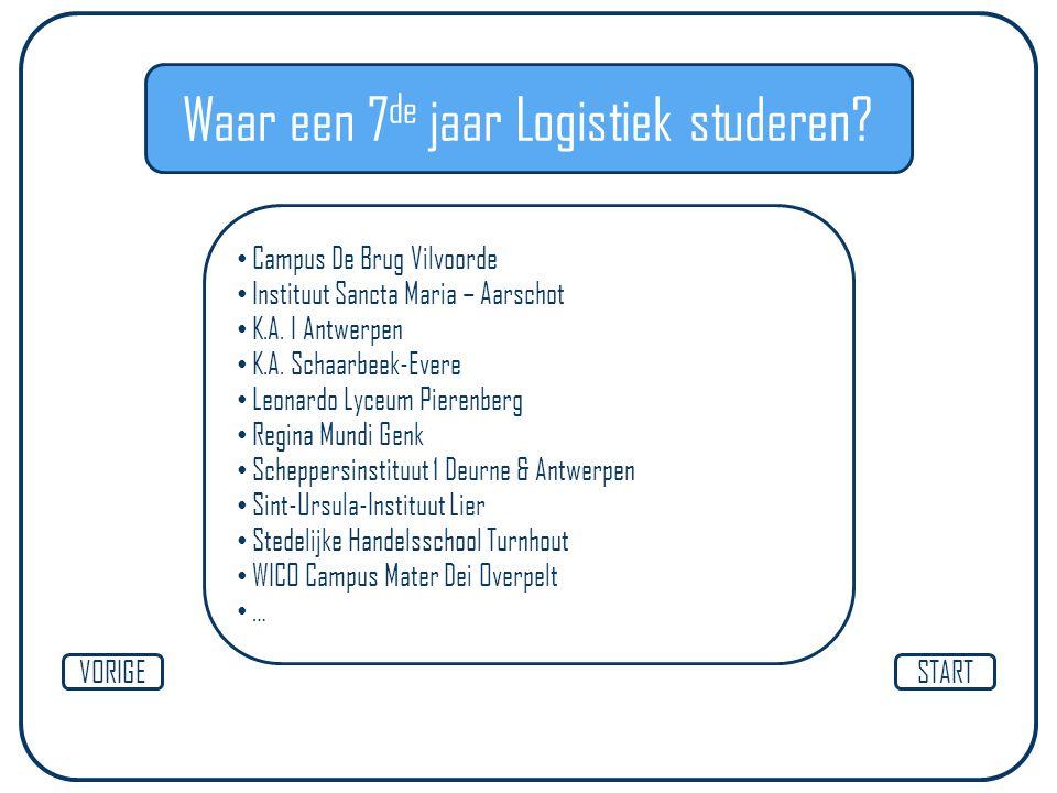 Waar een 7 de jaar Logistiek studeren? STARTVORIGE Campus De Brug Vilvoorde Instituut Sancta Maria – Aarschot K.A. I Antwerpen K.A. Schaarbeek-Evere L
