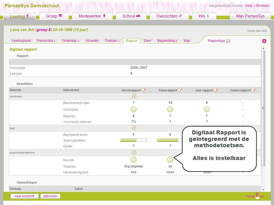 Digitaal Rapport is geïntegreerd met de methodetoetsen. Alles is instelbaar
