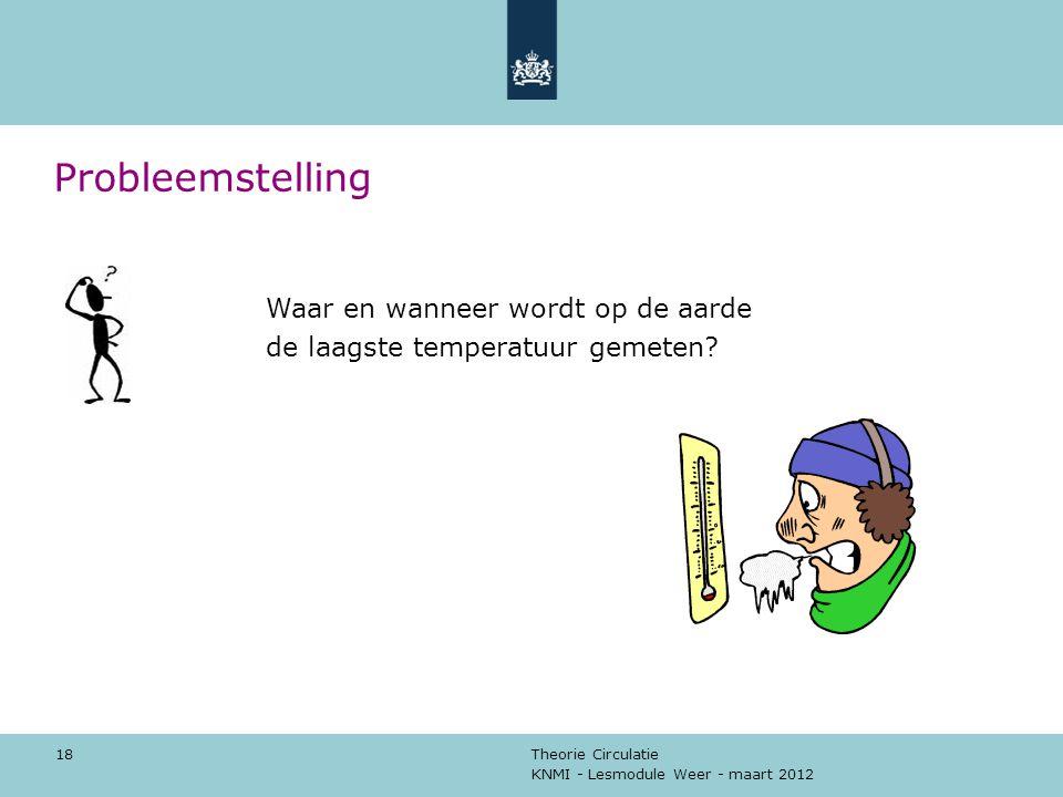 KNMI - Lesmodule Weer - maart 2012 Theorie Circulatie 18 Probleemstelling Waar en wanneer wordt op de aarde de laagste temperatuur gemeten?