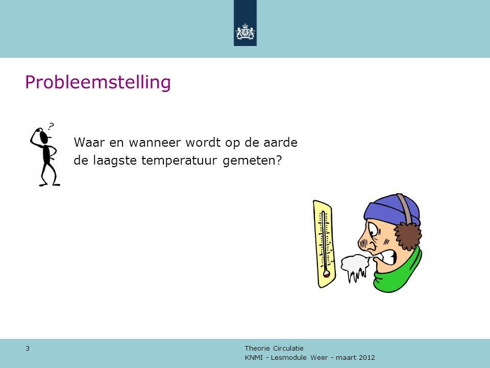 KNMI - Lesmodule Weer - maart 2012 Theorie Circulatie 3 Probleemstelling Waar en wanneer wordt op de aarde de laagste temperatuur gemeten?
