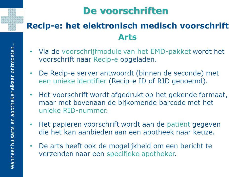 Wanneer huisarts en apotheker elkaar ontmoeten… Recip-e: het elektronisch medisch voorschrift Arts De voorschriften Via de voorschrijfmodule van het E