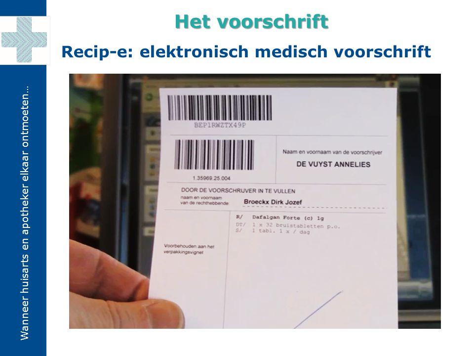 Wanneer huisarts en apotheker elkaar ontmoeten… Recip-e: elektronisch medisch voorschrift Het voorschrift