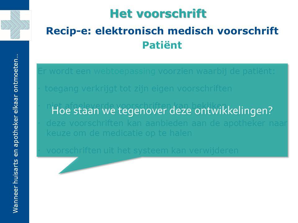 Wanneer huisarts en apotheker elkaar ontmoeten… Er wordt een webtoepassing voorzien waarbij de patiënt:  toegang verkrijgt tot zijn eigen voorschrift