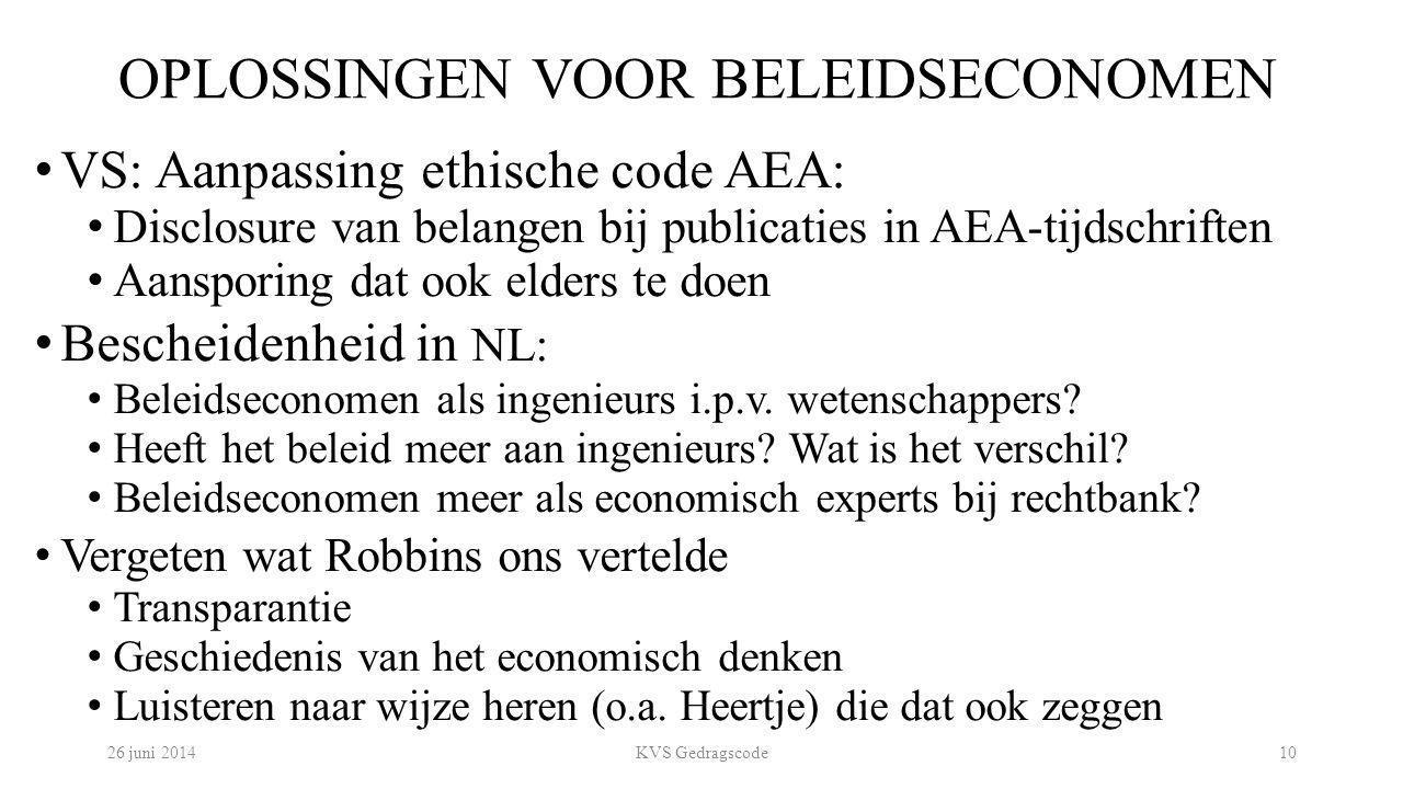 OPLOSSINGEN VOOR BELEIDSECONOMEN VS: Aanpassing ethische code AEA: Disclosure van belangen bij publicaties in AEA-tijdschriften Aansporing dat ook eld