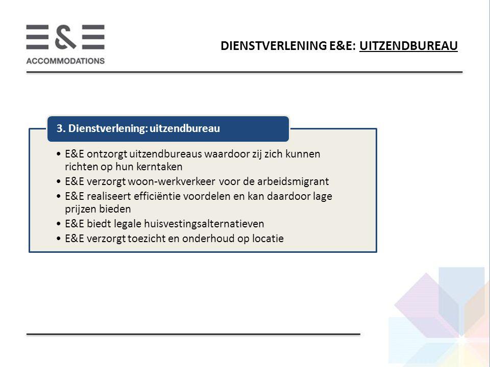 DIENSTVERLENING E&E: UITZENDBUREAU E&E ontzorgt uitzendbureaus waardoor zij zich kunnen richten op hun kerntaken E&E verzorgt woon-werkverkeer voor de