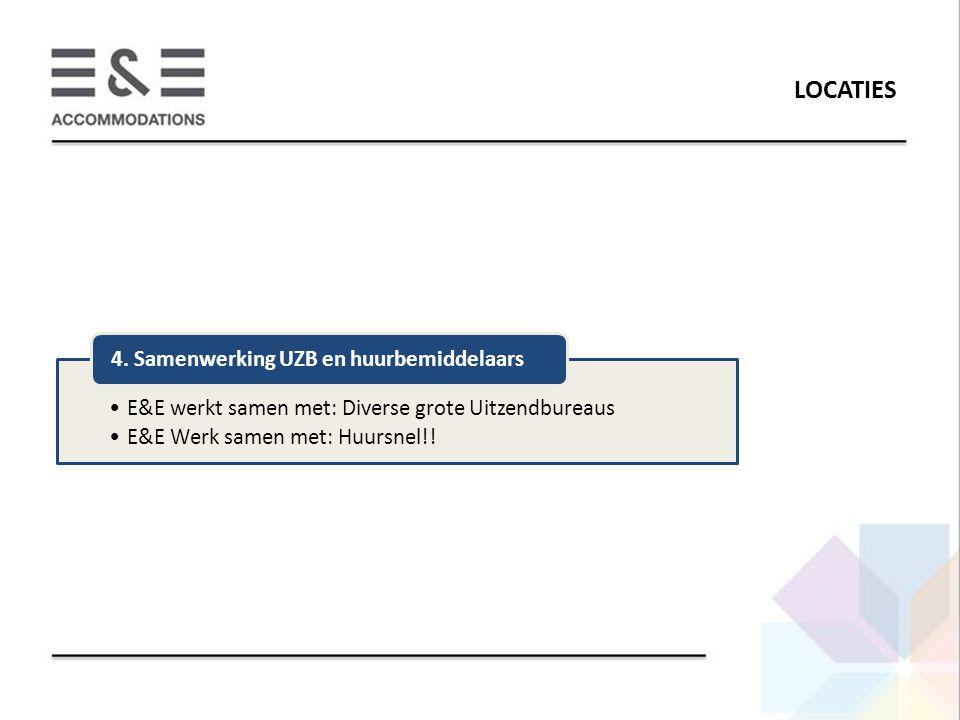 LOCATIES E&E werkt samen met: Diverse grote Uitzendbureaus E&E Werk samen met: Huursnel!! 4. Samenwerking UZB en huurbemiddelaars