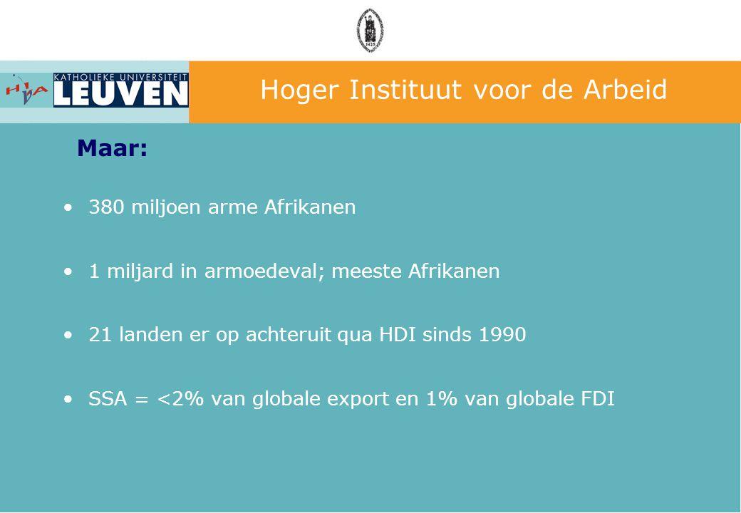 Hoger Instituut voor de Arbeid 3000 mia US$ Europa: –Meest genereuze continent –tegen 2010 0,56% BNI –Originele aanpak: hulp + handel + politieke dialoog Meer aan landbouwsubsidies, marketing, defensie,… Zijn we wel zo genereus?