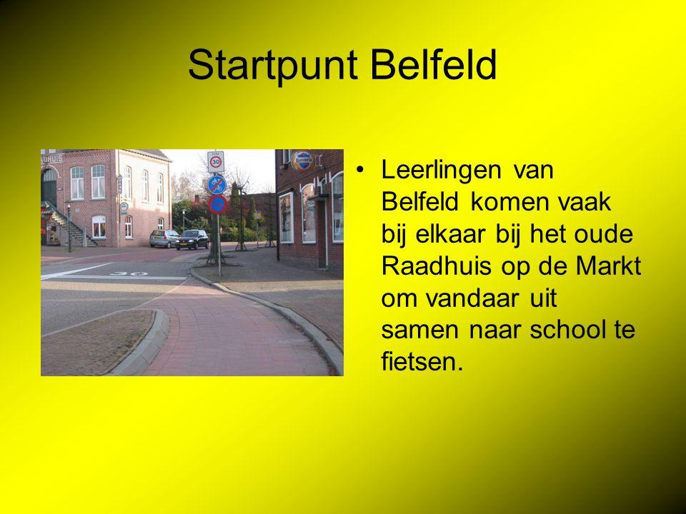 Startpunt Belfeld Leerlingen van Belfeld komen vaak bij elkaar bij het oude Raadhuis op de Markt om vandaar uit samen naar school te fietsen.
