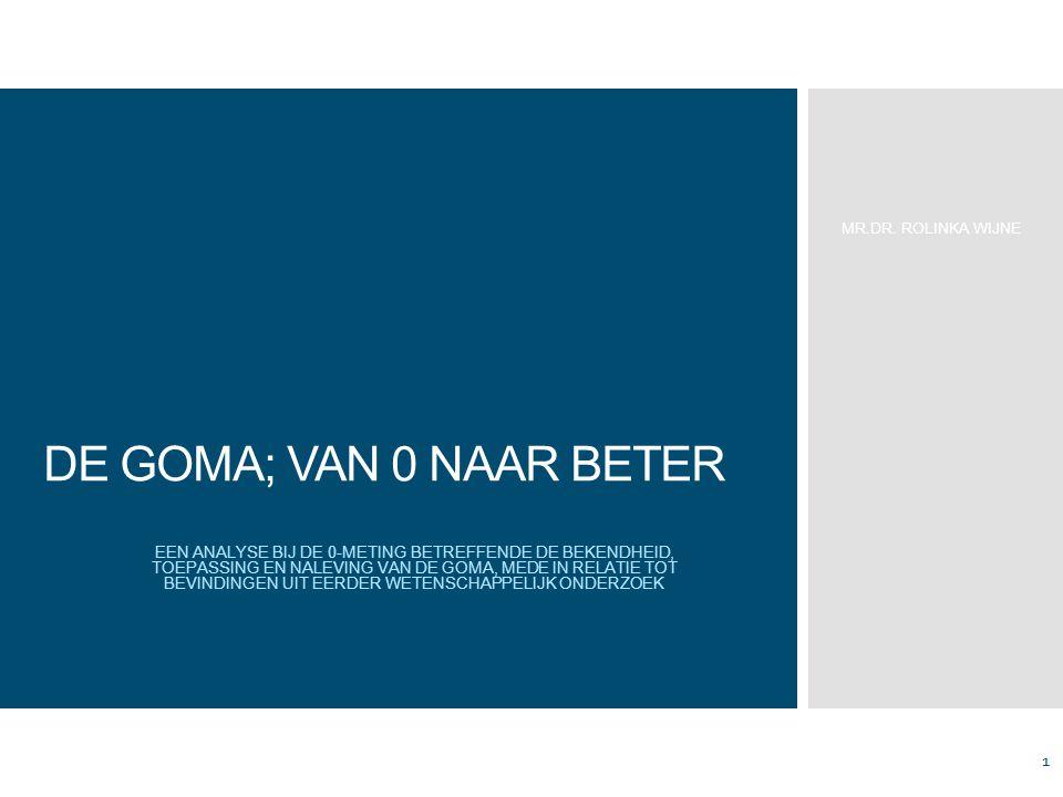 DE GOMA; VAN 0 NAAR BETER EEN ANALYSE BIJ DE 0-METING BETREFFENDE DE BEKENDHEID, TOEPASSING EN NALEVING VAN DE GOMA, MEDE IN RELATIE TOT BEVINDINGEN UIT EERDER WETENSCHAPPELIJK ONDERZOEK MR.DR.