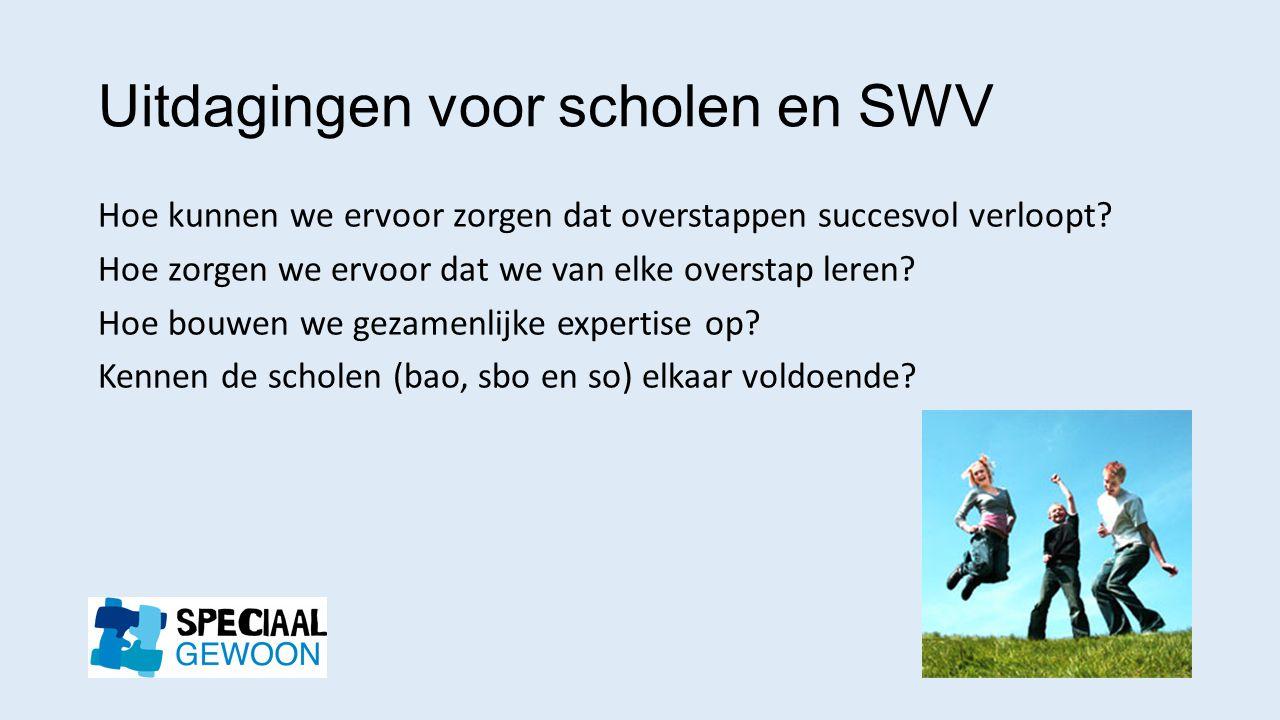 Uitdagingen voor scholen en SWV Hoe kunnen we ervoor zorgen dat overstappen succesvol verloopt? Hoe zorgen we ervoor dat we van elke overstap leren? H