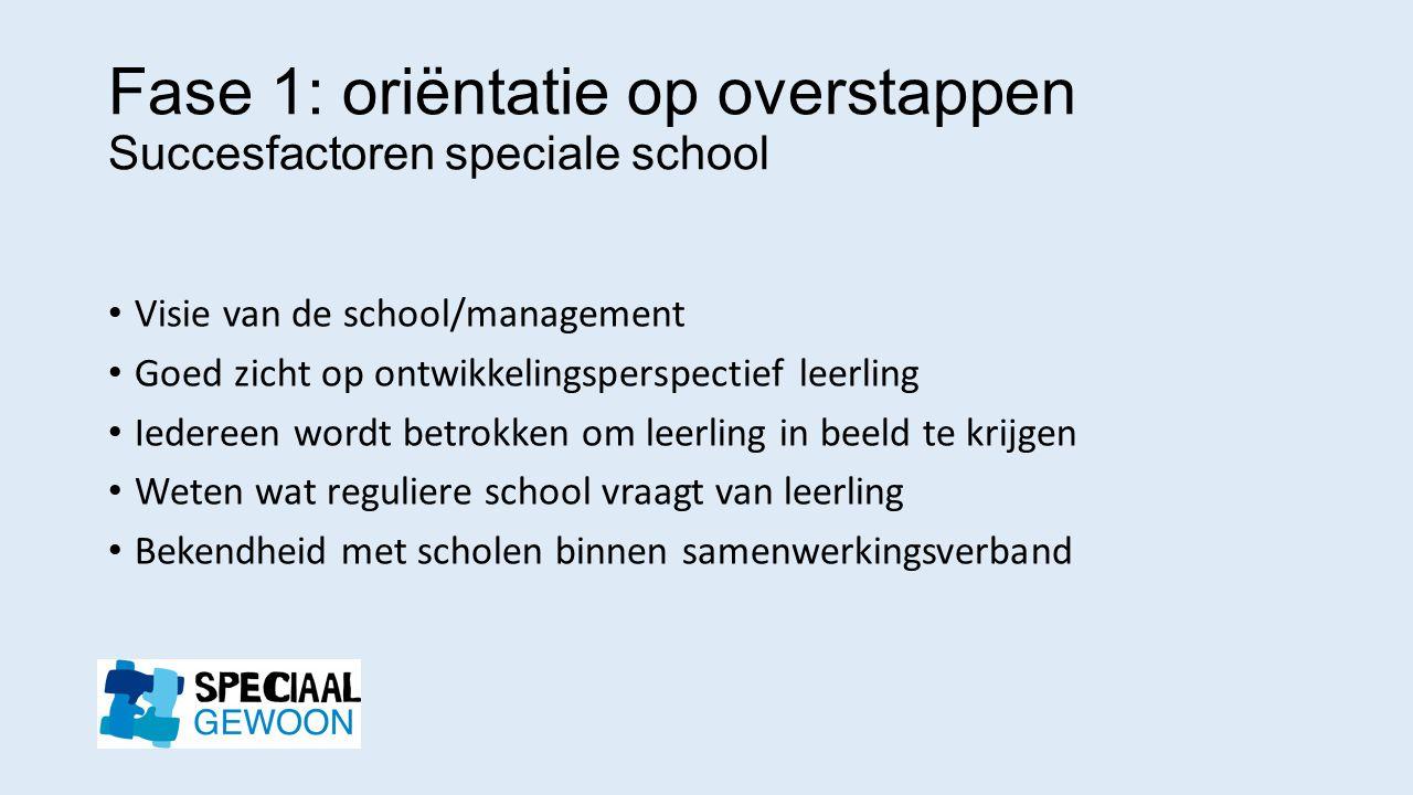 Fase 1: oriëntatie op overstappen Succesfactoren speciale school Visie van de school/management Goed zicht op ontwikkelingsperspectief leerling Iedere