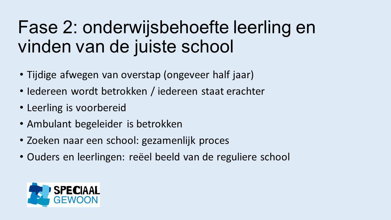 Fase 2: onderwijsbehoefte leerling en vinden van de juiste school Tijdige afwegen van overstap (ongeveer half jaar) Iedereen wordt betrokken / iederee
