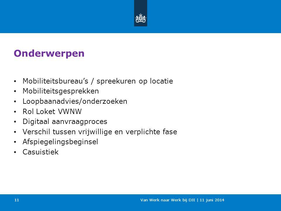 Van Werk naar Werk bij DJI | 11 juni 2014 11 Onderwerpen Mobiliteitsbureau's / spreekuren op locatie Mobiliteitsgesprekken Loopbaanadvies/onderzoeken