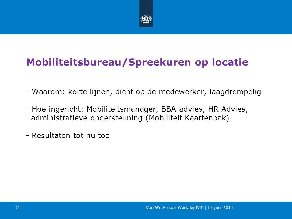 Van Werk naar Werk bij DJI | 11 juni 2014 - Waarom: korte lijnen, dicht op de medewerker, laagdrempelig - Hoe ingericht: Mobiliteitsmanager, BBA-advie