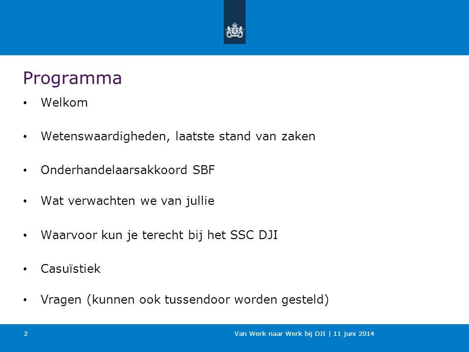 Van Werk naar Werk bij DJI | 11 juni 2014 Programma Welkom Wetenswaardigheden, laatste stand van zaken Onderhandelaarsakkoord SBF Wat verwachten we va