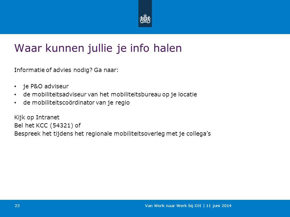 Van Werk naar Werk bij DJI | 11 juni 2014 Waar kunnen jullie je info halen Informatie of advies nodig? Ga naar: je P&O adviseur de mobiliteitsadviseur