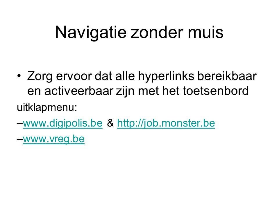Navigatie zonder muis Zorg ervoor dat alle hyperlinks bereikbaar en activeerbaar zijn met het toetsenbord uitklapmenu: –www.digipolis.be & http://job.monster.bewww.digipolis.behttp://job.monster.be –www.vreg.bewww.vreg.be