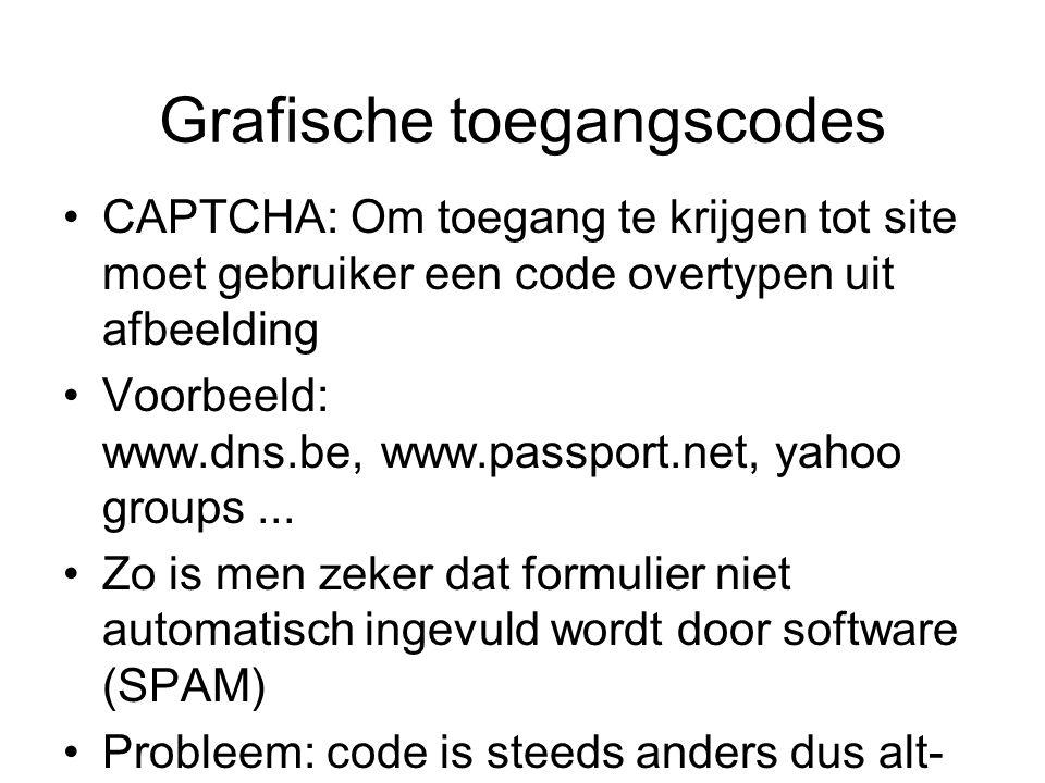 Grafische toegangscodes CAPTCHA: Om toegang te krijgen tot site moet gebruiker een code overtypen uit afbeelding Voorbeeld: www.dns.be, www.passport.net, yahoo groups...