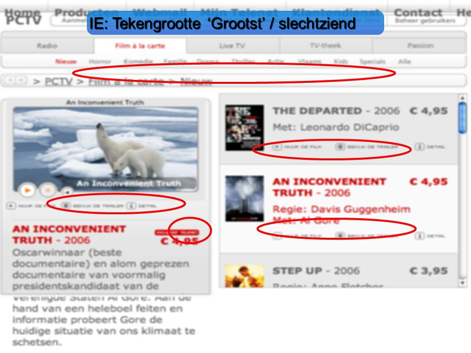 IE: Tekengrootte 'Grootst' / slechtziend