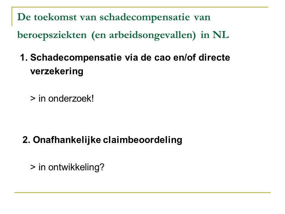 De toekomst van preventie van beroepsziekten in NL Problematische preventie beroepsziekten: - Tijdens ontstaan van beroepsziekte vaak inadequate interventies - Beroepsziekten h.s.m.