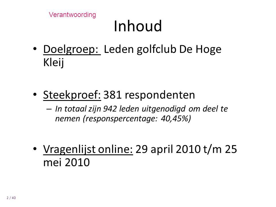 Doelgroep: Leden golfclub De Hoge Kleij Steekproef: 381 respondenten – In totaal zijn 942 leden uitgenodigd om deel te nemen (responspercentage: 40,45%) Vragenlijst online: 29 april 2010 t/m 25 mei 2010 Inhoud 2 / 40 Verantwoording