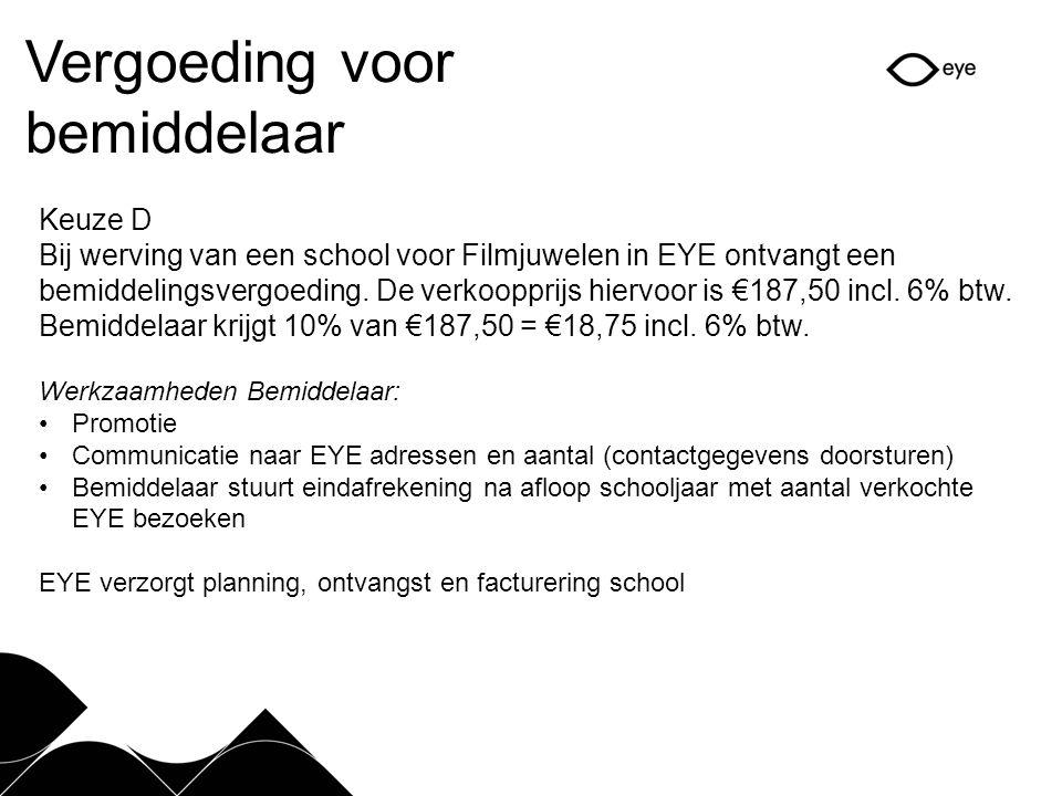 Vergoeding voor bemiddelaar Keuze D Bij werving van een school voor Filmjuwelen in EYE ontvangt een bemiddelingsvergoeding.