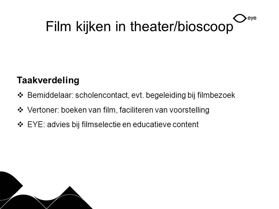 Film kijken in theater/bioscoop Taakverdeling  Bemiddelaar: scholencontact, evt.