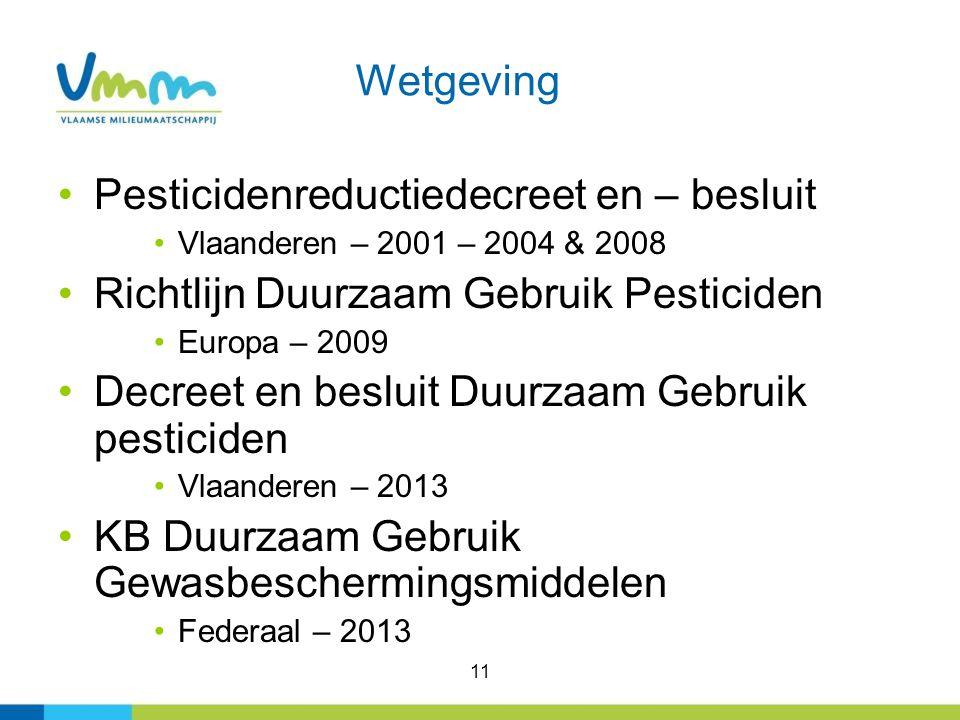 11 Wetgeving Pesticidenreductiedecreet en – besluit Vlaanderen – 2001 – 2004 & 2008 Richtlijn Duurzaam Gebruik Pesticiden Europa – 2009 Decreet en besluit Duurzaam Gebruik pesticiden Vlaanderen – 2013 KB Duurzaam Gebruik Gewasbeschermingsmiddelen Federaal – 2013