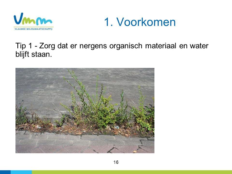 1. Voorkomen Tip 1 - Zorg dat er nergens organisch materiaal en water blijft staan. 16