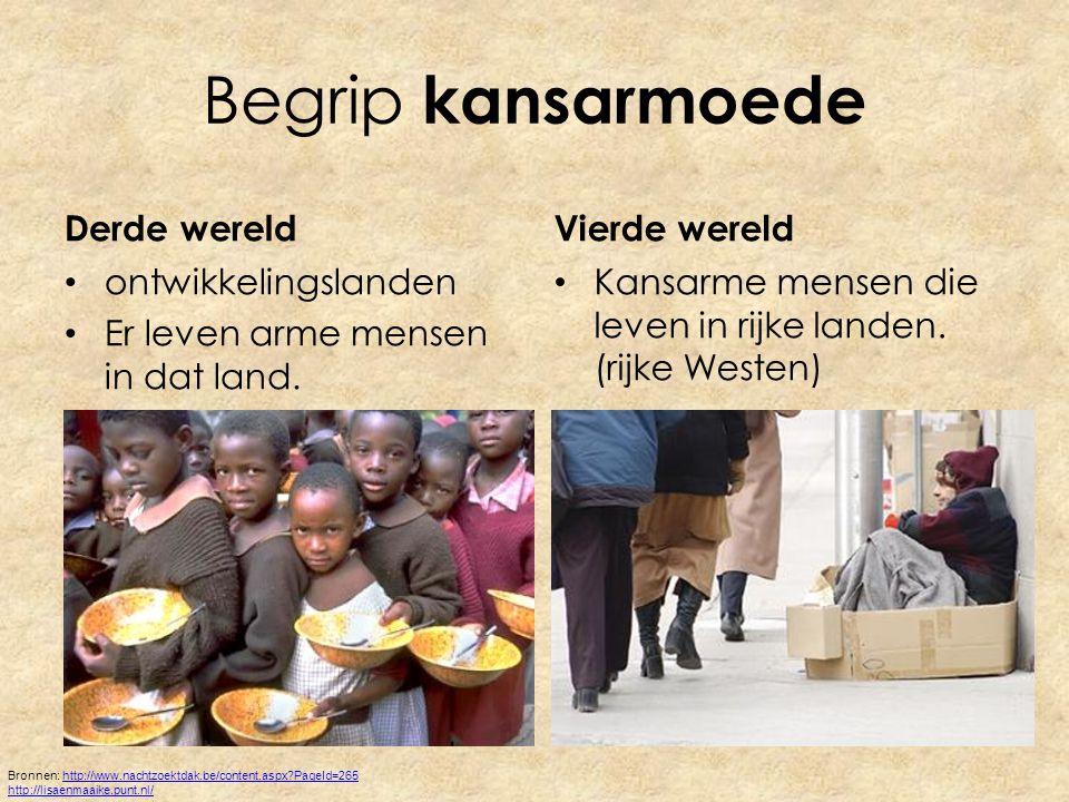 Begrip kansarmoede Derde wereld ontwikkelingslanden Er leven arme mensen in dat land.