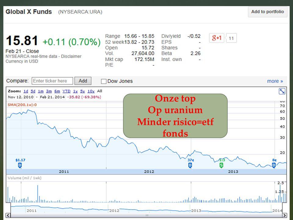 18/08/2014 32 Onze top Op uranium Minder risico=etf fonds