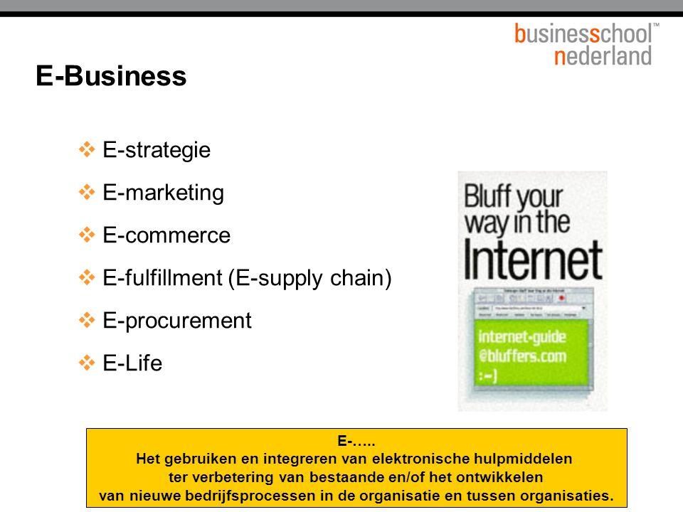  E-strategie  E-marketing  E-commerce  E-fulfillment (E-supply chain)  E-procurement  E-Life E-….. Het gebruiken en integreren van elektronische