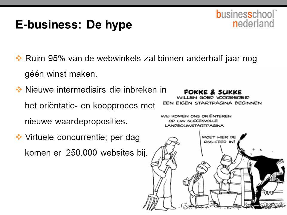 E-business: De hype  Ruim 95% van de webwinkels zal binnen anderhalf jaar nog géén winst maken.  Nieuwe intermediairs die inbreken in het oriëntatie