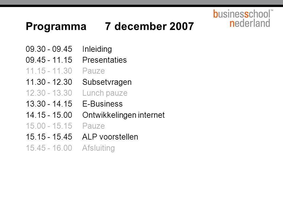 Programma 7 december 2007 09.30 - 09.45 Inleiding 09.45 - 11.15Presentaties 11.15 - 11.30Pauze 11.30 - 12.30 Subsetvragen 12.30 - 13.30Lunch pauze 13.