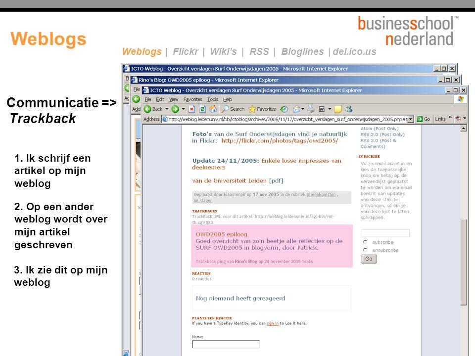 2. Op een ander weblog wordt over mijn artikel geschreven 3. Ik zie dit op mijn weblog Communicatie => Trackback 1. Ik schrijf een artikel op mijn web