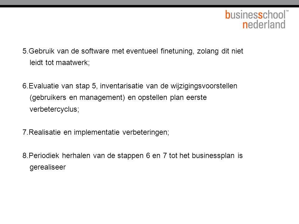 5.Gebruik van de software met eventueel finetuning, zolang dit niet leidt tot maatwerk; 6.Evaluatie van stap 5, inventarisatie van de wijzigingsvoorst