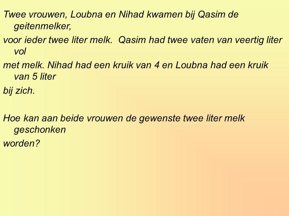 Twee vrouwen, Loubna en Nihad kwamen bij Qasim de geitenmelker, voor ieder twee liter melk.