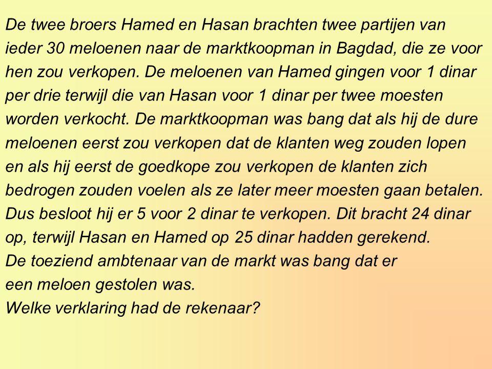 De twee broers Hamed en Hasan brachten twee partijen van ieder 30 meloenen naar de marktkoopman in Bagdad, die ze voor hen zou verkopen.