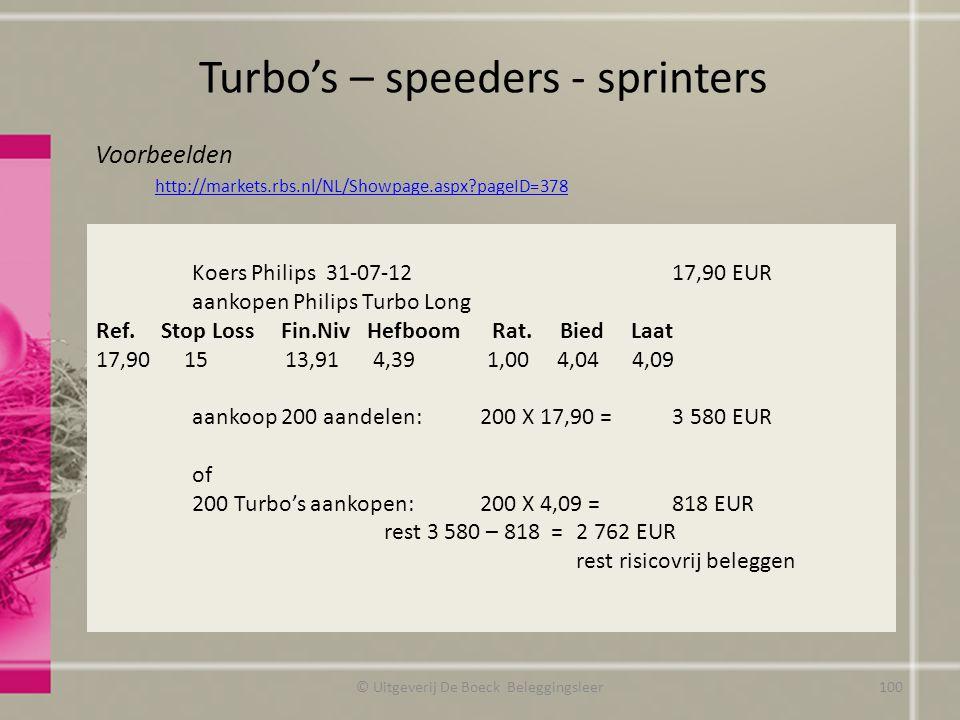 Voorbeelden http://markets.rbs.nl/NL/Showpage.aspx?pageID=378 Koers Philips 31-07-1217,90 EUR aankopen Philips Turbo Long Ref.