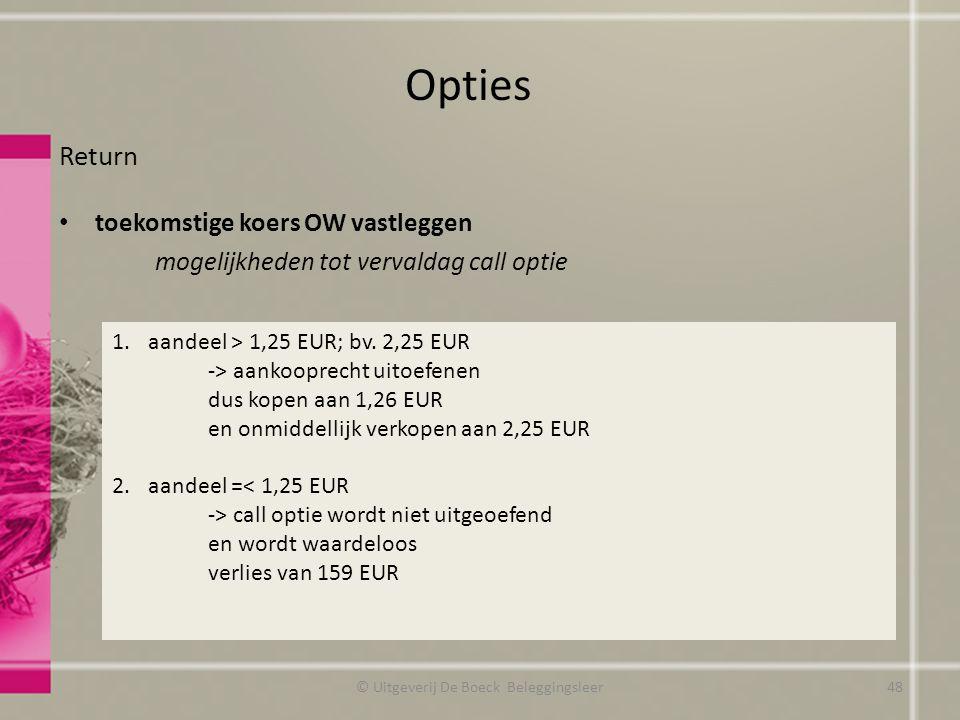 Return toekomstige koers OW vastleggen mogelijkheden tot vervaldag call optie Opties © Uitgeverij De Boeck Beleggingsleer 1.aandeel > 1,25 EUR; bv.