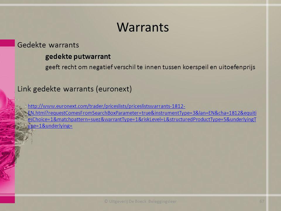 Gedekte warrants gedekte putwarrant geeft recht om negatief verschil te innen tussen koerspeil en uitoefenprijs Link gedekte warrants (euronext) http://www.euronext.com/trader/priceslists/priceslistswarrants-1812- EN.html?requestComesFromSearchBoxParameter=true&instrumentType=3&lan=EN&cha=1812&equiti esChoice=1&matchpattern=suez&warrantType=1&riskLevel=L&structuredProductType=5&underlyingT ype=1&underlying= Warrants © Uitgeverij De Boeck Beleggingsleer67