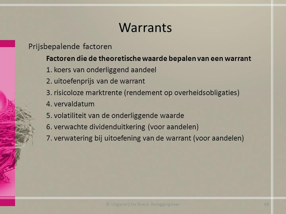 Prijsbepalende factoren Factoren die de theoretische waarde bepalen van een warrant 1.