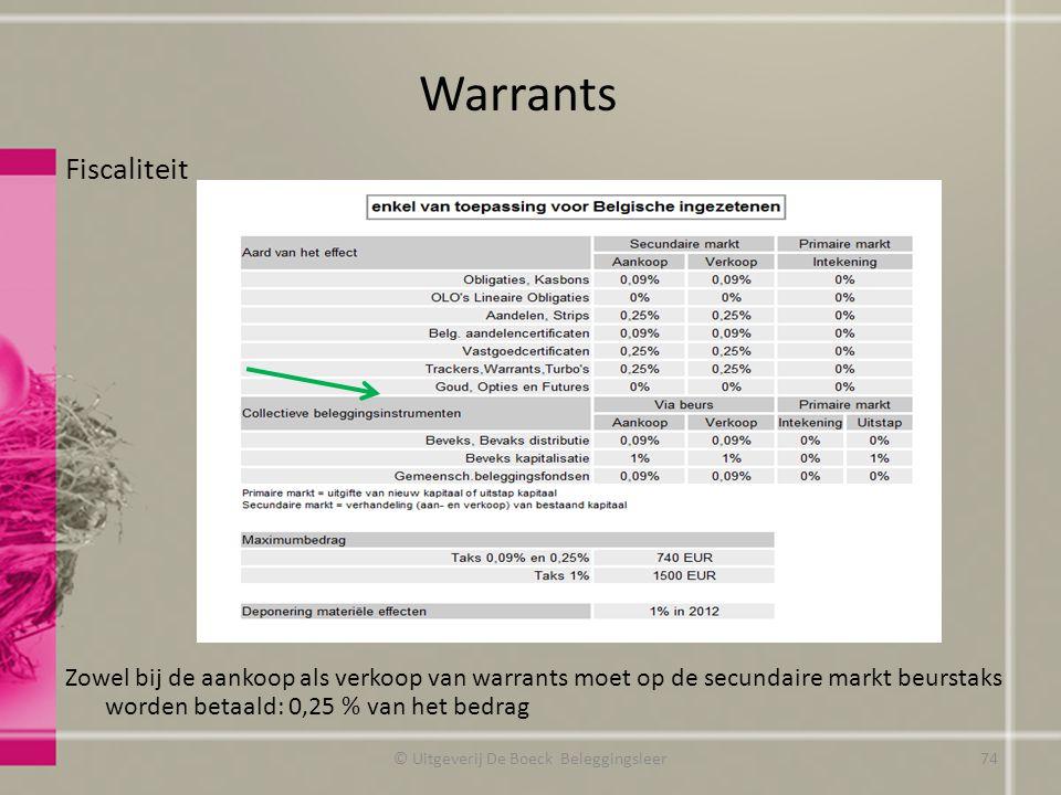 Fiscaliteit Zowel bij de aankoop als verkoop van warrants moet op de secundaire markt beurstaks worden betaald: 0,25 % van het bedrag Warrants © Uitgeverij De Boeck Beleggingsleer74