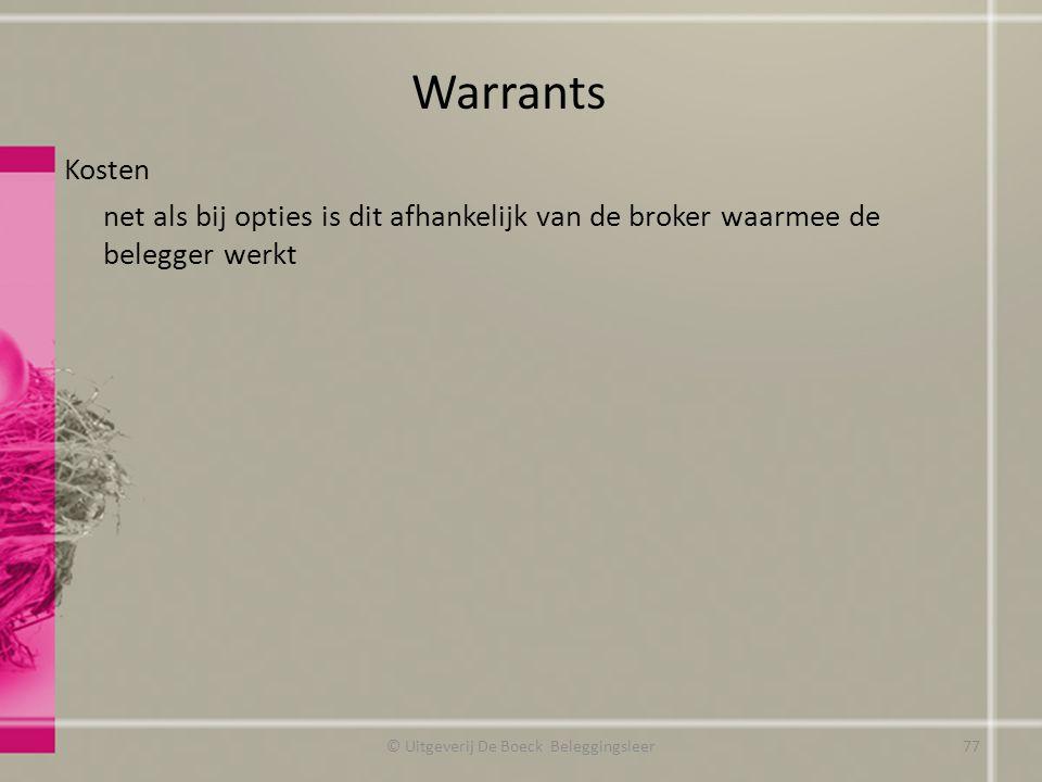 Kosten net als bij opties is dit afhankelijk van de broker waarmee de belegger werkt Warrants © Uitgeverij De Boeck Beleggingsleer77