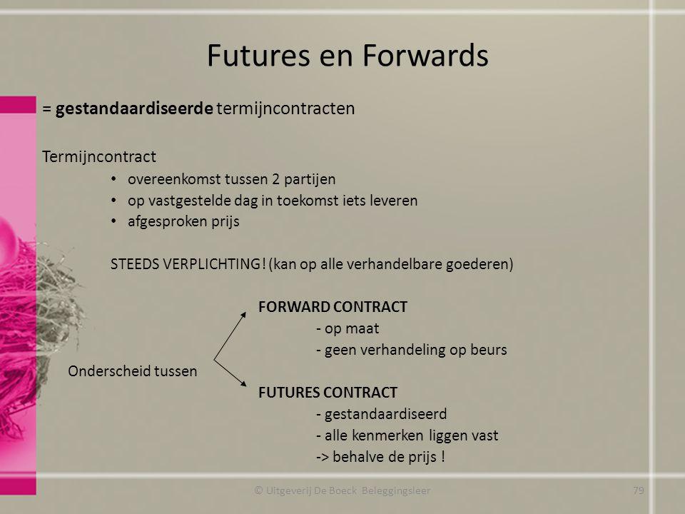 = gestandaardiseerde termijncontracten Termijncontract overeenkomst tussen 2 partijen op vastgestelde dag in toekomst iets leveren afgesproken prijs STEEDS VERPLICHTING.